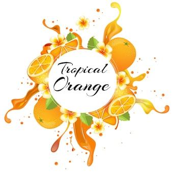Orange mit tropischem spritzenhintergrund