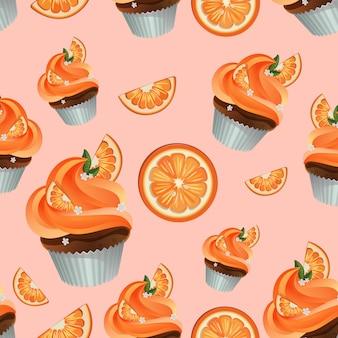 Orange nahtloses muster des süßen kleinen kuchens