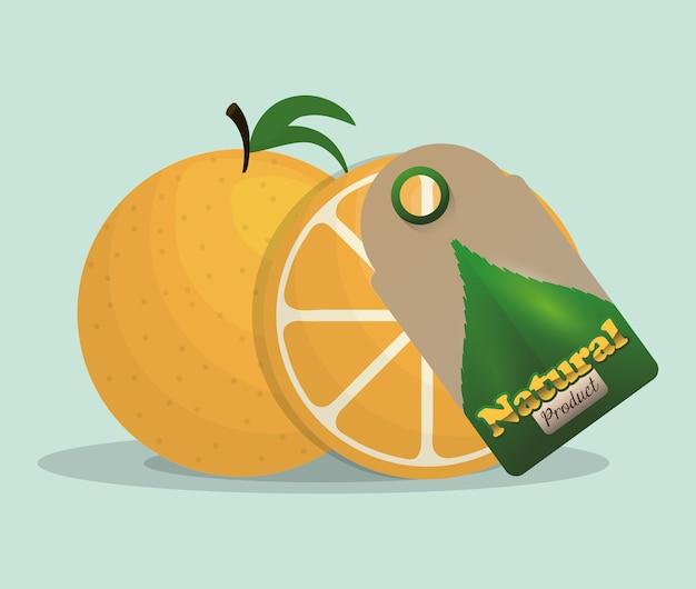 Orange naturprodukt-tag-markt