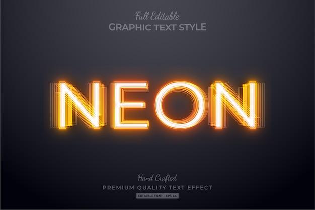 Orange neon bearbeitbarer textstil-effekt
