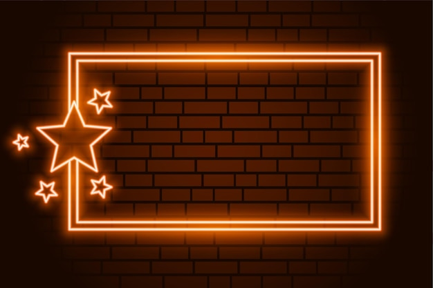 Orange neon rechteckiger rahmen mit sternen