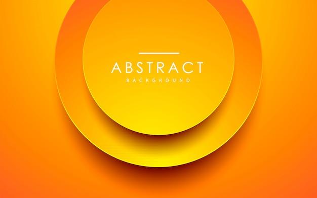 Orange papercut hintergrund des abstrakten kreises 3d