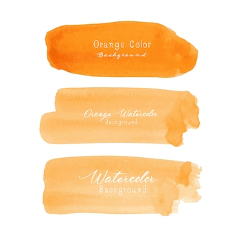 Orange pinselstrichaquarell auf weißem hintergrund.