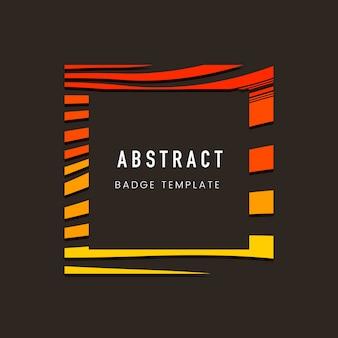 Orange quadratische abstrakte abzeichenvorlage
