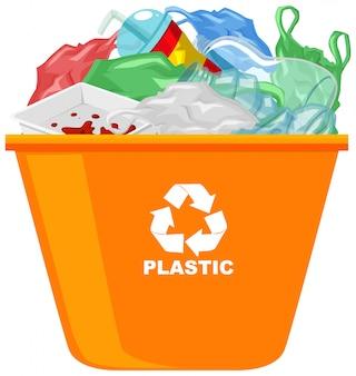 Orange recyclingbehälter mit recycling-symbol auf weißem hintergrund
