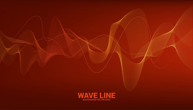 Orange schallwellenlinie kurve auf rotem hintergrund. element für futuristischen vektor der thematechnologie