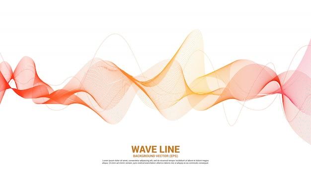 Orange schallwellenlinie kurve auf weißem hintergrund