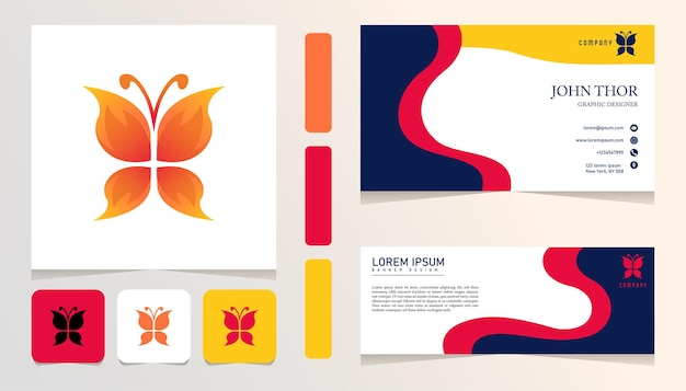 Orange schmetterlings-gradientenlogo, banner, karten-business-bundle-set-vorlage
