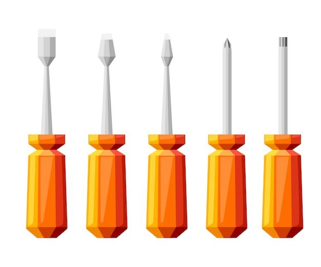 Orange schraubendrehersatz. schraubendreher mit verschiedenen aufsätzen. flache illustration lokalisiert auf weißem hintergrund. buntes symbol.