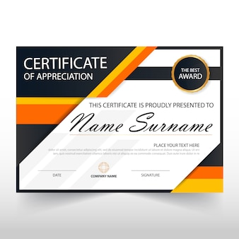 Orange schwarzes elegant horizontale zertifikat mit vektor-illustration