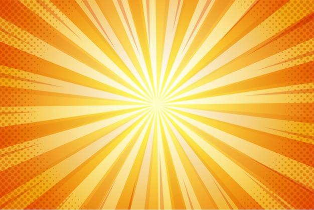 Orange sommer-zusammenfassungs-komischer karikatur-sonnenlicht-hintergrund.