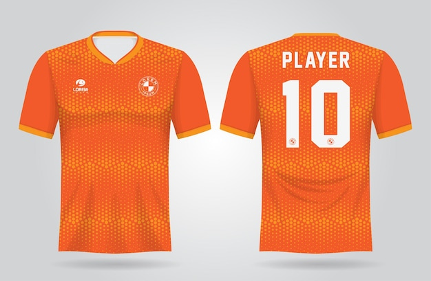 Orange sport trikot vorlage für team uniformen und fußball t-shirt design
