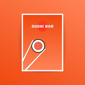 Orange sushi-bar-karte mit essstäbchen. konzept von nori, natürliche ernährung, präsentation, ankündigung, anzeigenhinweis, advt, oriental, handel. flat style trend moderne broschüre design vector illustration