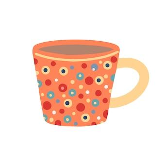 Orange tasse in tupfen auf einem weißen hintergrund. vektor-illustration.