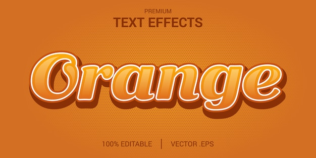 Orange texteffekt, eleganten abstrakten orangefarbenen texteffekt einstellen, bearbeitbarer schrifteffekt im orangefarbenen textstil