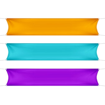 Orange, türkis und lila leer leere horizontale rechteckige banner mit eckenseilen.