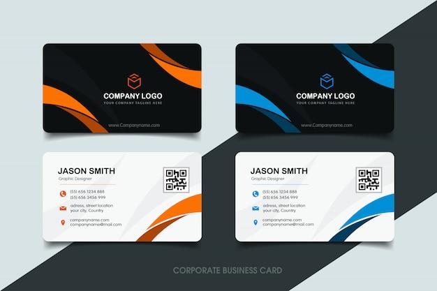 Orange und blaue gewellte visitenkarte