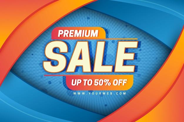 Orange und blauer premiumverkaufshintergrund