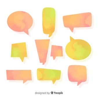 Orange und gelbe aquarellierte spracheblasen