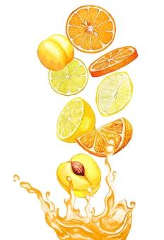 Orange und gelbe früchte fallen in den orangensaft