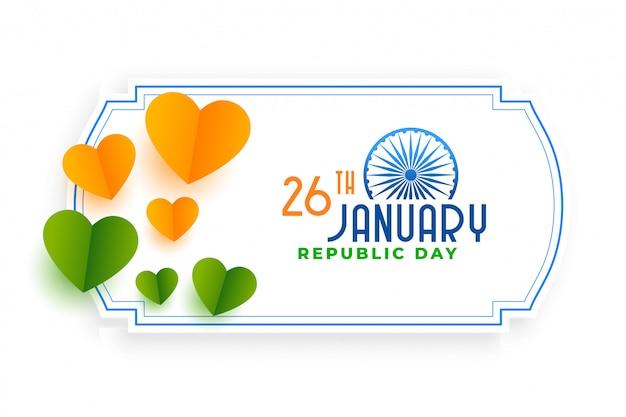 Orange und grüne herzen für tag der indischen republik