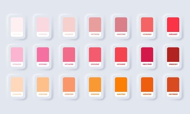 Orange und rote pastellfarbpalette. katalogproben orange und rot in rgb hex. farbkatalog. neumorphic ui ux weiße benutzeroberfläche web-schaltfläche. neumorphismus.