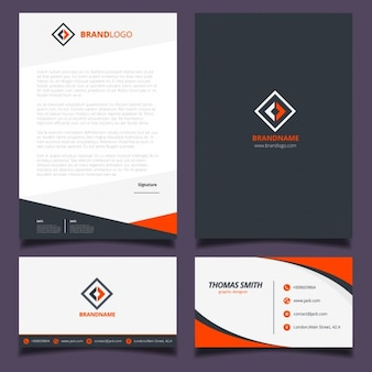 Orange und schwarze corporate identity design