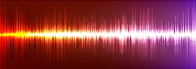 Orange und violett digital sound wave hintergrund, technologie und erdbebenwellenkonzept