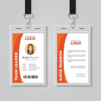 Orange und weiße unternehmensausweis-schablone