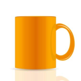 Orange vektor-tasse isoliert auf weißem hintergrund