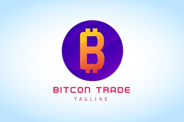 Orange-violettes logo für den bitcoin-handel mit farbverlauf