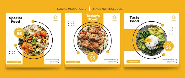 Orange weiße lebensmittel social media banner vorlage design