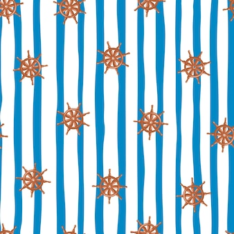 Orange zufällige schiffsrad silhouetten nahtlose doodle-muster. blau-weiß gestreifter hintergrund. entworfen für stoffdesign, textildruck, verpackung, abdeckung. vektor-illustration.