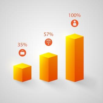 Orangefarbene diagramme eingestellt