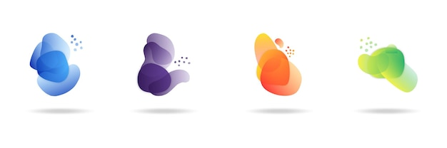 Orangefarbene flache form und grüner flüssigkeitsklecks, blauer flüssigkeitsfleck und violette geometrische form. satz isolierter abstrakter aquaflecken mit farbverlauf oder dynamischer farbe. hintergrund für karten- oder vorlagendesign für flyer