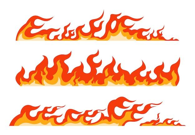 Orangefarbene flamme. brennende feuerlinie, dekoratives element und lodernde grenze, nahtloses muster