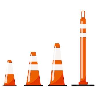 Orangefarbene kunststoff-straßenverkehrskegel-set isoliert auf weißem hintergrund. warnsymbol mit reflektierenden streifenaufklebern. flaches design-symbol vektorgrafik.