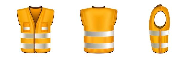 Orangefarbene warnweste mit reflektierenden streifen uniform für bauarbeiten