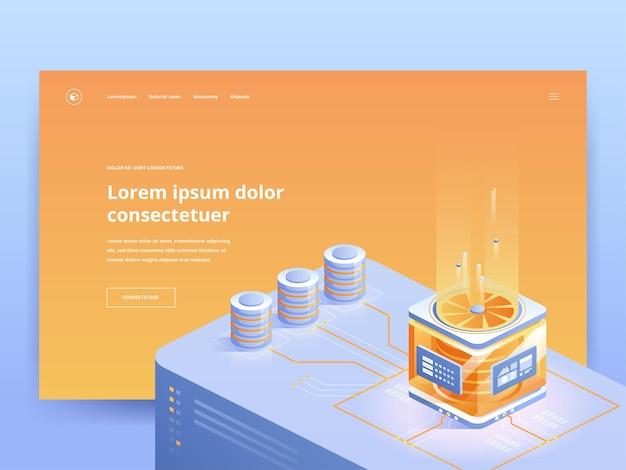 Orangefarbene zielseitenvorlage für pc-hardware-shop. computerausrüstung internet-shop-website-homepage ui, ux-idee mit isometrischen illustrationen. moderne servertechnologie webbanner helle farbe 3d-konzept