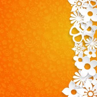 Orangefarbener hintergrund mit aus weißem papier ausgeschnittenen blumen