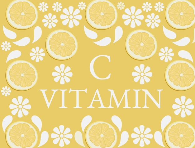 Orangefarbener hintergrund mit verstreuten zitrusfrüchten als vitamin c-symbol
