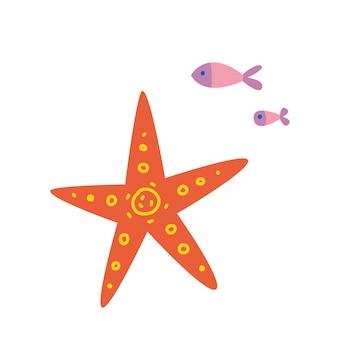 Orangefarbener seestern und fisch set aus bunten unterwasser-design-elementen vektor-illustration