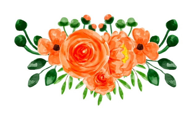 Orangefarbenes blumenarrangement mit aquarell