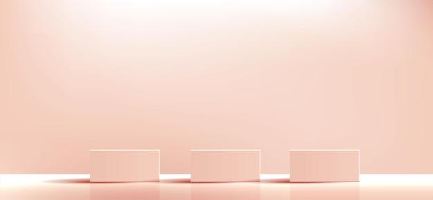 Orangefarbenes geometrisches podestquadrat und minimale boxen leerer schaukasten für die präsentation von kosmetikprodukten