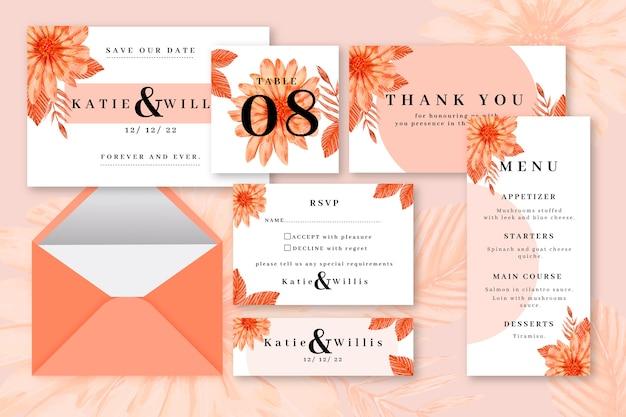 Orangefarbenes hochzeitsbriefpapier