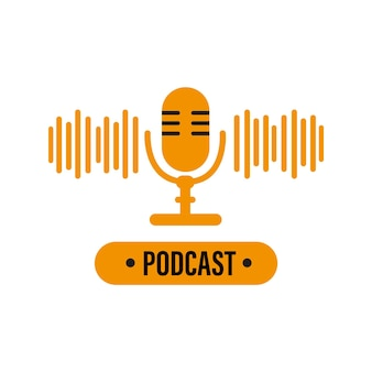 Orangefarbenes podcast-symbol mikrofon mit podcast-logo vektorgrafiken