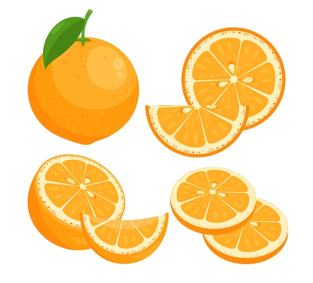 Orangen flache illustrationen gesetzt. saftige reife zitrusfrucht ganz in schale mit blattfrischen fruchtscheiben
