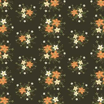 Orangen- und jasminblumen winden efeuart mit niederlassung und blättern, nahtloses muster
