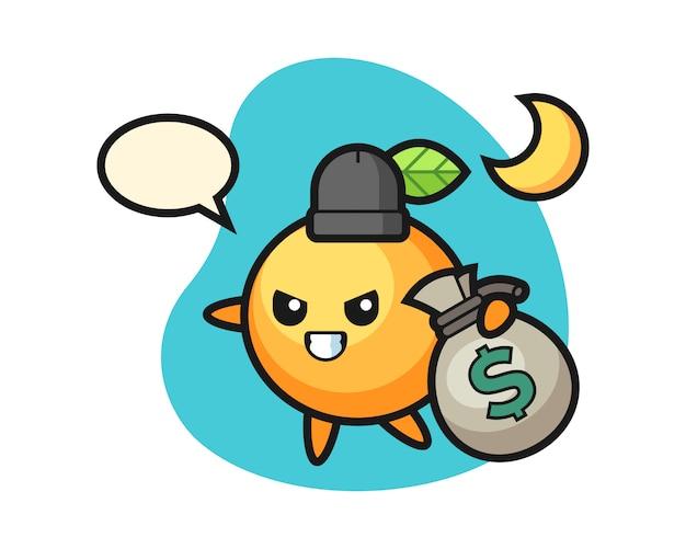 Orangenfrucht-cartoon stahl das geld