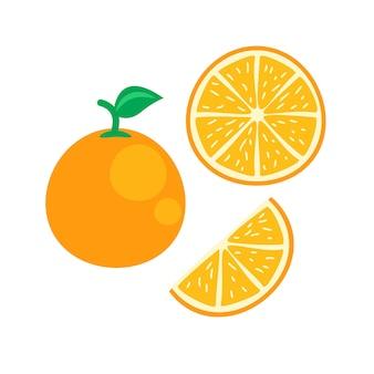 Orangenfrucht in flacher darstellung
